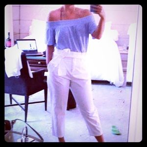 Zara white pants high waisted with bow